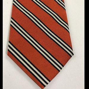 J Crew Men's Orange Striped Tie 100% Silk